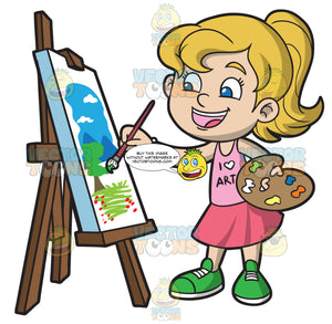 A Girl Painting A Landscape