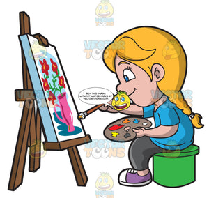 A Girl Painting A Still Life Image