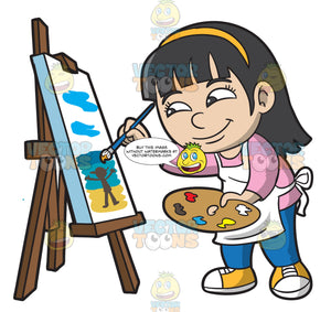 A Girl Painting A Seascape
