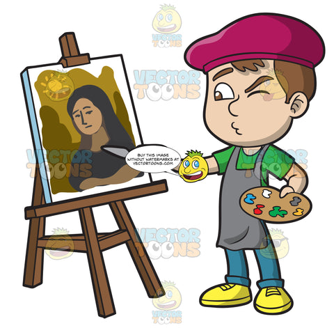 A Boy Painting A Portrait