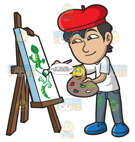 An Asian Boy Painting A Lizard