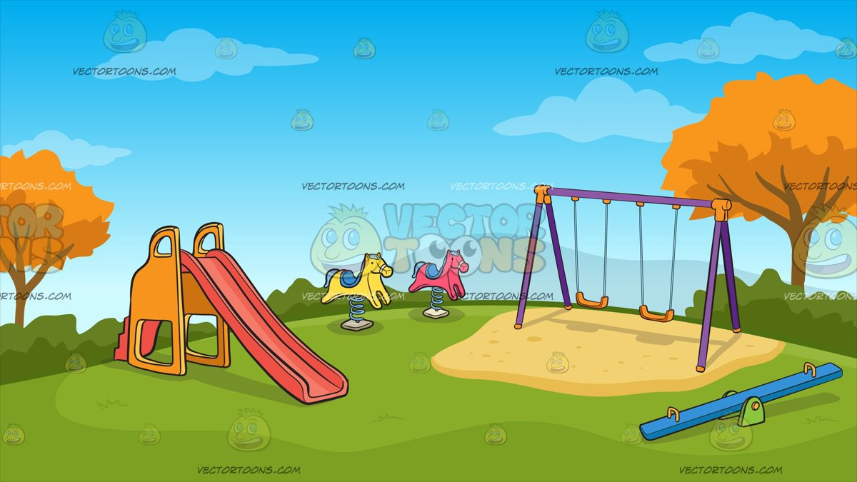 Kids Playground On An Autumn Day Background