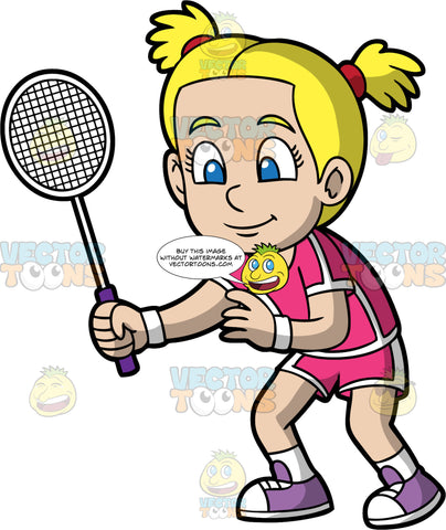 A Blonde Girl Ready To Play Badminton. A blonde girl with her hair in pig tails, wearing pink and white shorts, and a matching pink and white shirt, white socks, and purple sneakers, holding a badminton racquet in her hand and waiting for the game to start