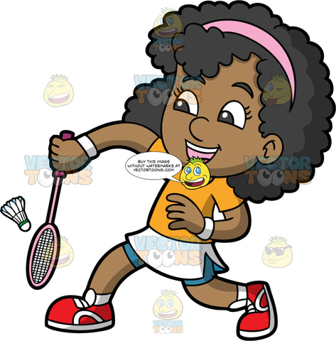 A Happy Black Girl Playing Badminton. A black girl, wearing a white skirt with blue shorts underneath, an orange shirt, red shoes, and a pink head band, lunging forwards to hit a shuttlecock with the badminton racquet in her hand