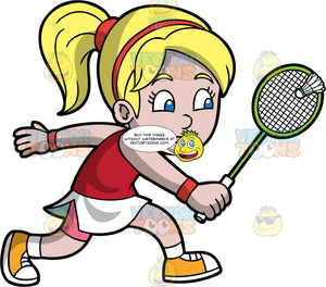 A Girl Hitting A Shuttlecock With Her Racquet. A girl with blonde hair tied up in a ponytail, wearing a white skirt with pink shorts underneath, a red tank top, orange sneakers, and a red head band, hitting a shuttlecock with the badminton racquet in her hand
