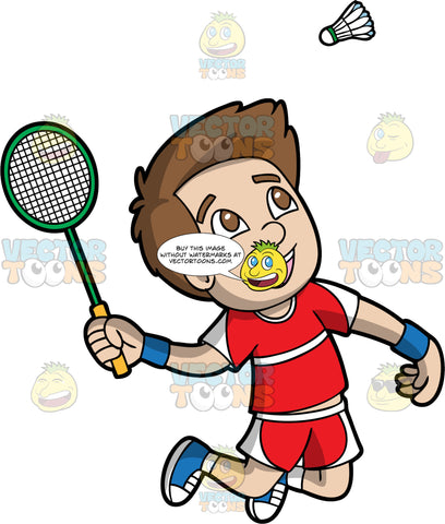 A Boy Jumping Up To Hit A Shuttlecock With His Racquet. A boy with brown hair and eyes, wearing red and white shorts, a red and white shirt, and blue sneakers, jumping up into the air, and pulling his arm back in order to hit a shuttlecock with the racquet in his hand