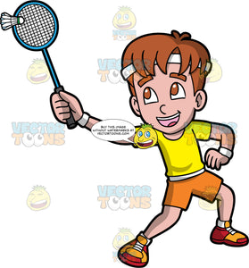 A Boy Having Fun Playing Badminton. A boy with reddish brown hair, wearing orange shorts, a yellow shirt, and red and orange shoes, hitting a shuttlecock with the badminton racquet in his hand