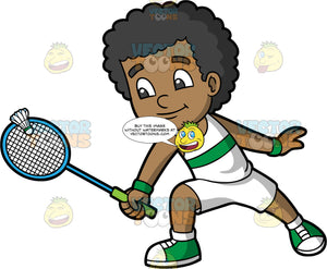 A Black Boy Hitting A Shuttlecock With His Racquet. A black boy wearing white shorts, a white tank top with a green stripe in the center, and green sneakers, hitting a shuttlecock with his badminton racquet
