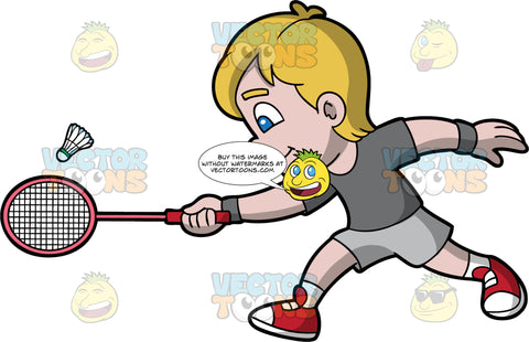A Boy Running To Try And Hit A Shuttlecock With His Racquet. A boy with dark blonde hair and blue eyes, wearing light gray shorts, a dark gray t-shirt, and red sneakers, reaching forward with his badminton racquet to try and hit a shuttlecock with it
