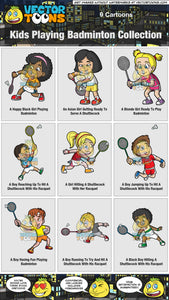 Kids Playing Badminton Collection