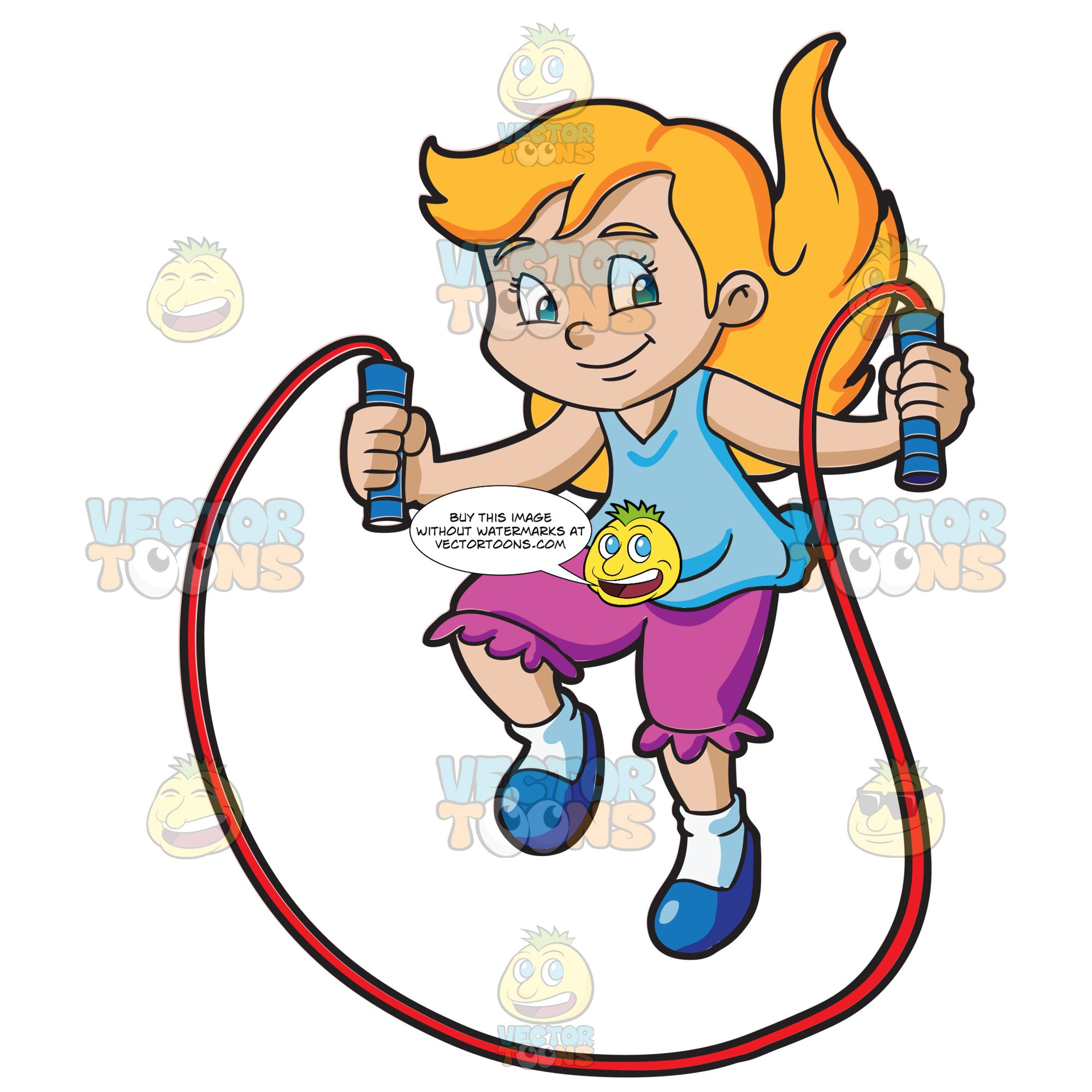 A Young Girl Skipping Rope