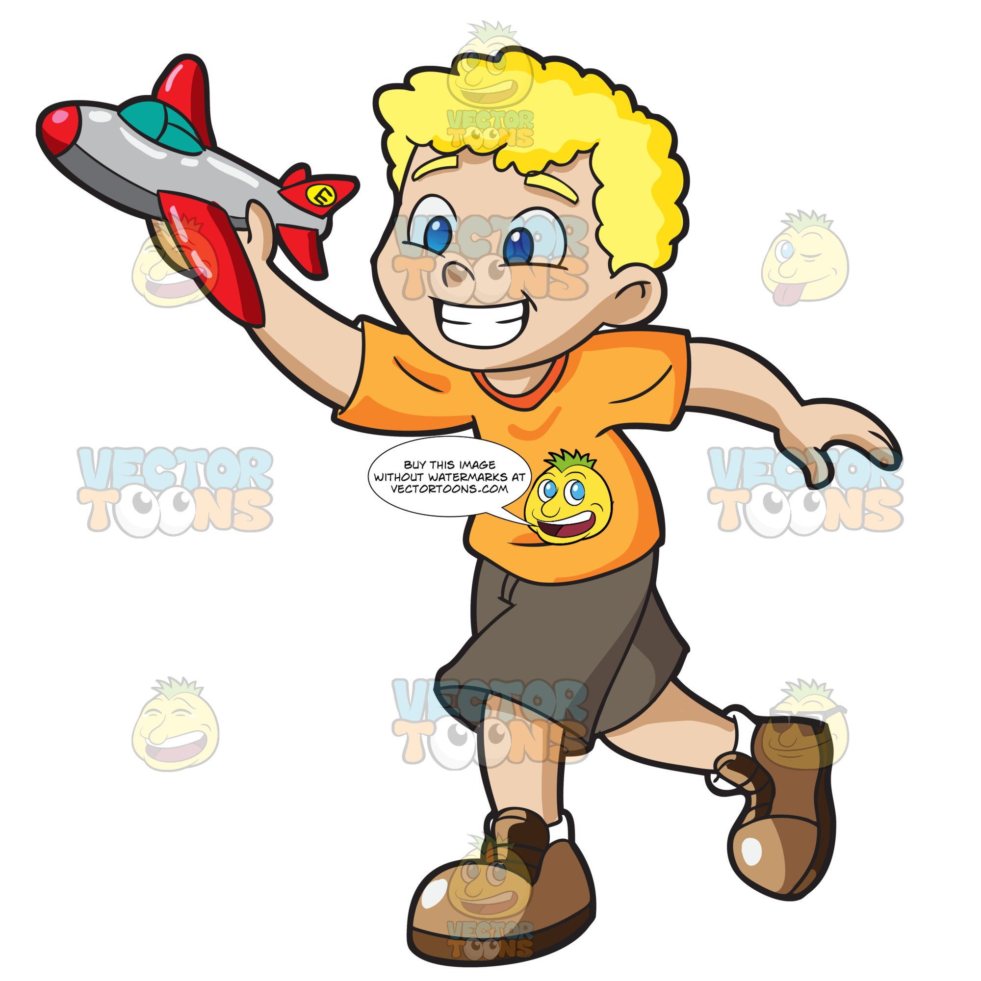 A Young Boy Playing With His Toy Airplane Clipart Cartoons By