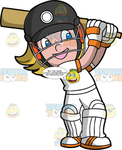 A Young Girl Swinging A Cricket Bat. A girl with blonde hair and blue eyes, wearing a white cricket uniform, white shin and knee pads, white and orange shoes, white and orange gloves, and a black safety helmet, smiles as she swings her cricket bat behind her head