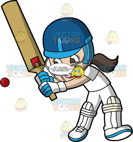 A Girl Getting Ready To Hit An Approaching Cricket Ball. A girl with brown hair and eyes, wearing an all white cricket uniform, white knee and shin guards, white shoes, blue and white gloves, and a blue safety helmet, holds her cricket bat up and prepares to swing at the red ball the is coming towards her