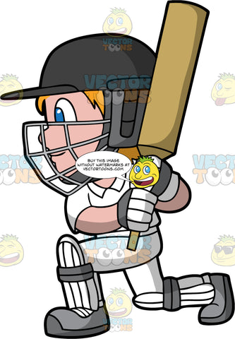 A Boy Watches The Ball He Has Just Hit With His Cricket Bat. A boy with blonde hair and blue eyes, wearing a white cricket uniform, white with grey knee and shin pads, grey shoes, white with grey gloves, and dark grey helmet, bends down on one knee and grasps his cricket bat in both hands after just striking a ball
