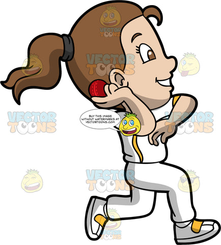 A Girl About To Throw A Cricket Ball. A girl with brown hair and eyes, wearing a white cricket uniform with yellow accents, and white and yellow shoes, runs and gets ready to release the cricket ball that is in her right hand