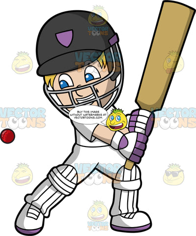 A Boy Getting Ready To Hit A Cricket Ball With His Bat. A boy with blonde hair and blue eyes, wearing an all white cricket uniform, black safety helmet, white knee and shin guards, and purple and white gloves, stands with his bat raised ready to hit the cricket ball approaching him