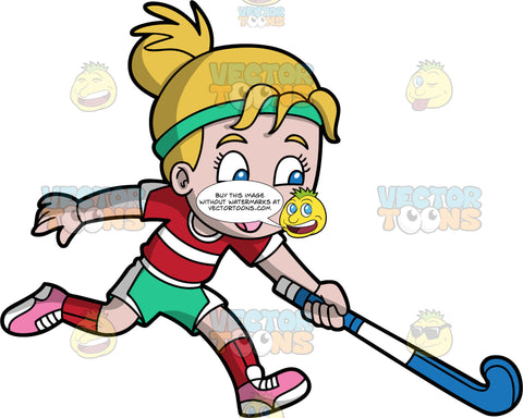 A Girl Having Fun Playing Field Hockey. A girl with dark blonde hair and blue eyes, wearing green and white shorts, a red and white shirt, red socks and pink shoes, runs as she holds a blue field hockey stick in one hand