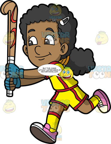 A Happy Black Girl Playing Field Hockey. A black girl wearing yellow and shirt shorts, a yellow and red shirt, yellow and red socks, and pink shoes, holds a field hockey stick up in her hands and runs after a ball