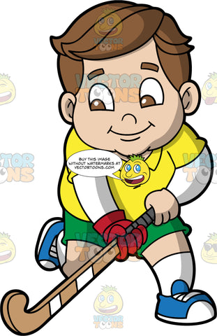 A Chubby Boy Playing Field Hockey. A chubby boy with brown hair and eyes, wearing green shorts, a yellow shirt, and blue shoes, holding a field hockey stick in his hands and running