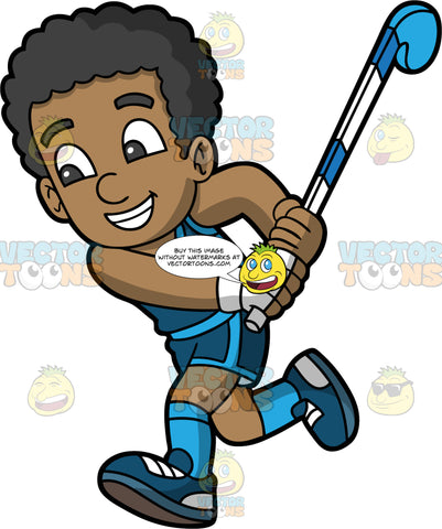 A Happy Black Boy Chasing After A Field Hockey Ball. A black boy wearing blue shorts, a blue tank top, blue socks, and blue shoes, smiles as he runs and holds a field hockey stick in his hands