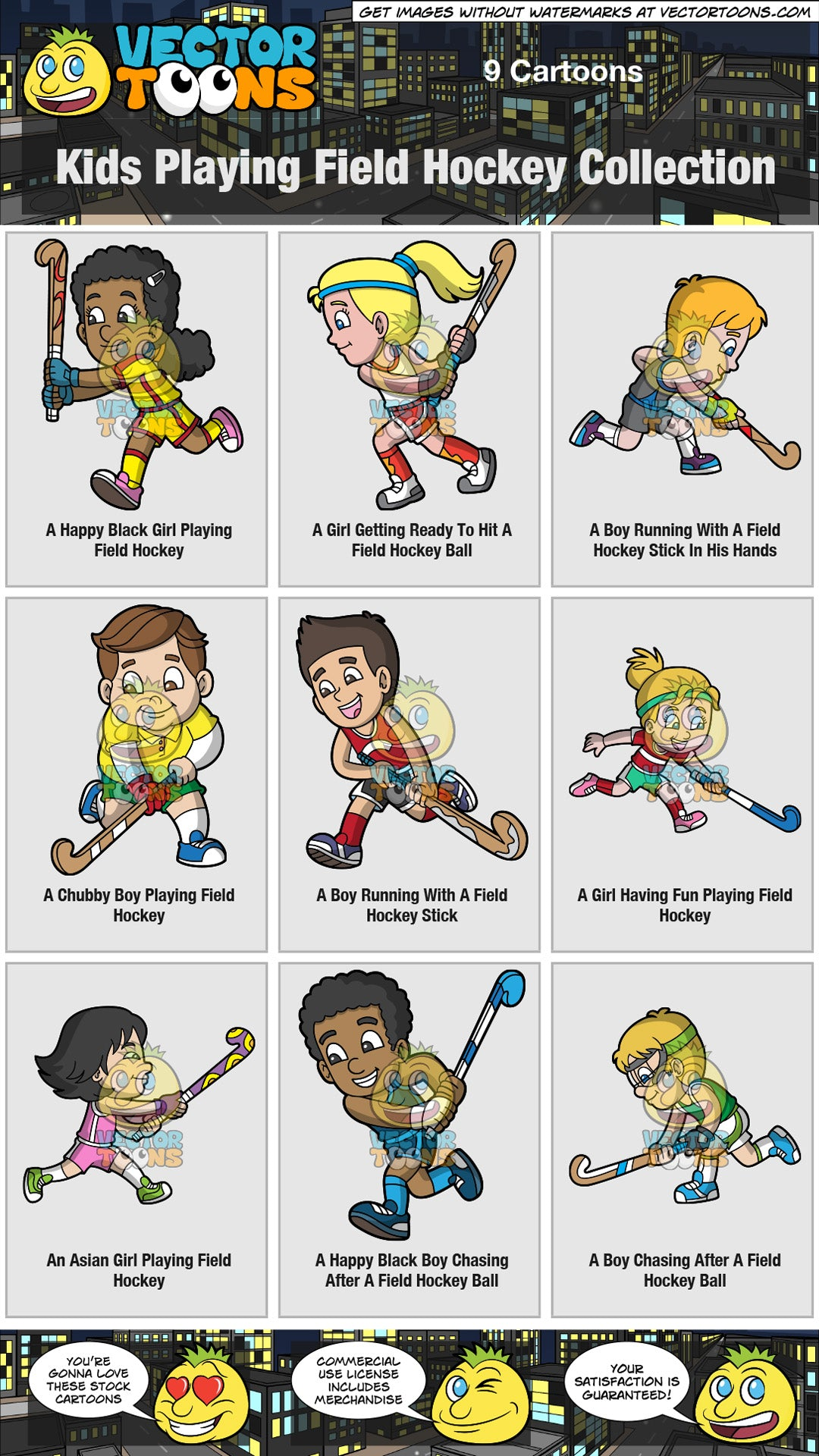 Kids Playing Field Hockey Collection Clipart Cartoons By Vectortoons