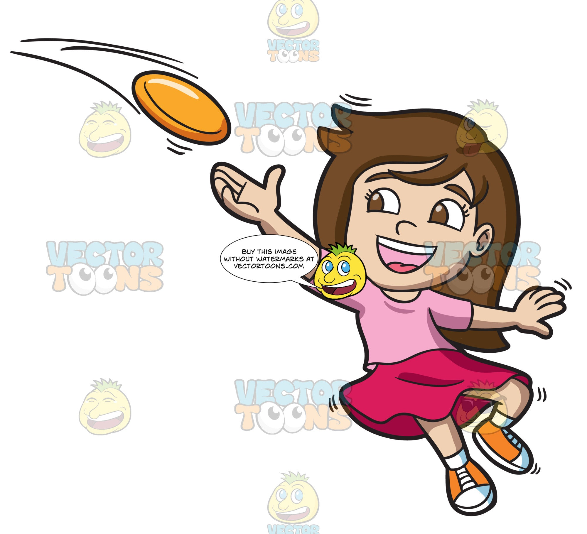 A Girl Catching A Flying Disc