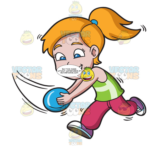 A Girl Running To Catch A Flying Disc
