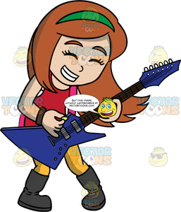 A Girl Having Fun Playing An Electric Guitar. A girl with long reddish brown hair, wearing yellow pants, a red shirt, and black boots, closes her eyes and smiles as she plays a blue electric guitar