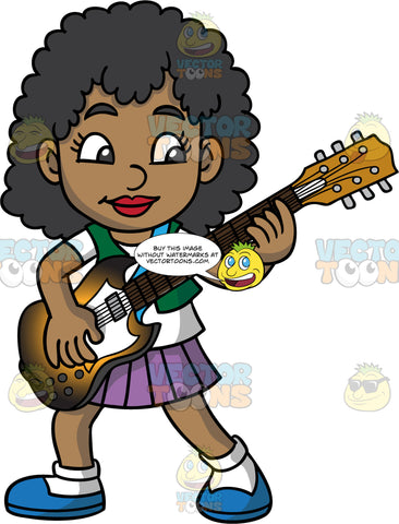 A Black Girl Playing An Electric Guitar. A cute black girl, wearing a purple skirt, a green vest over a white t-shirt, white socks and blue shoes, playing a rock and roll song on her electric guitar