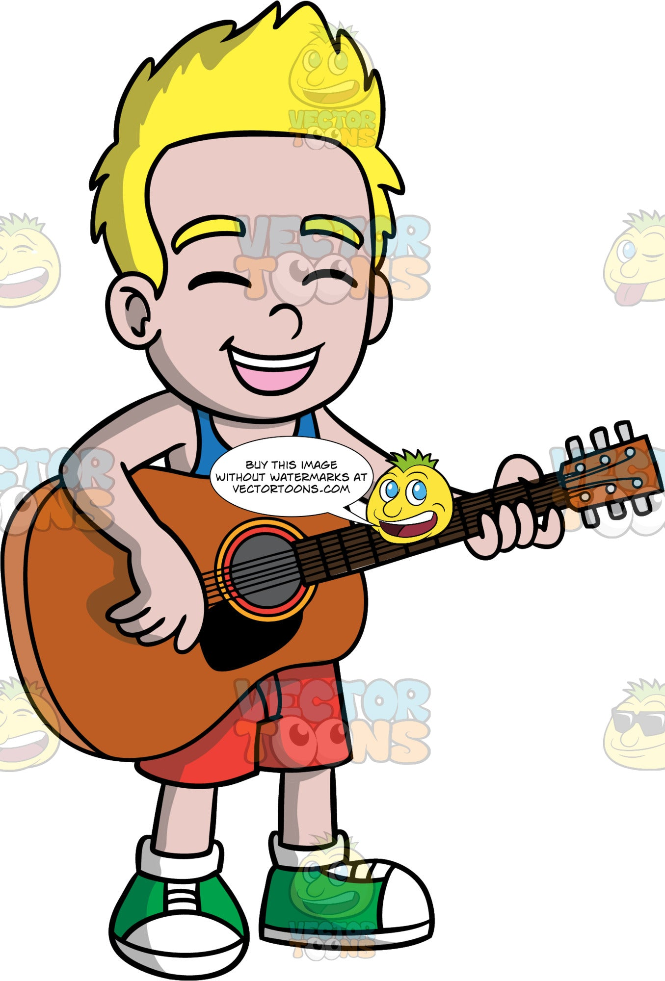 A Boy Singing And Playing Guitar. A boy with blonde hair, wearing red shorts, a blue tank top, and green and white sneakers, closes his eyes as he sings and plays a song on his acoustic guitar