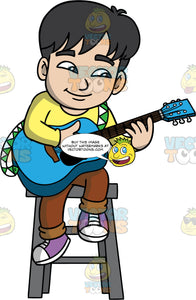 A Boy Playing An Acoustic Guitar. A boy with black hair, wearing brown pants, a yellow shirt, and purple sneakers, sitting on a stool, playing a blue acoustic guitar
