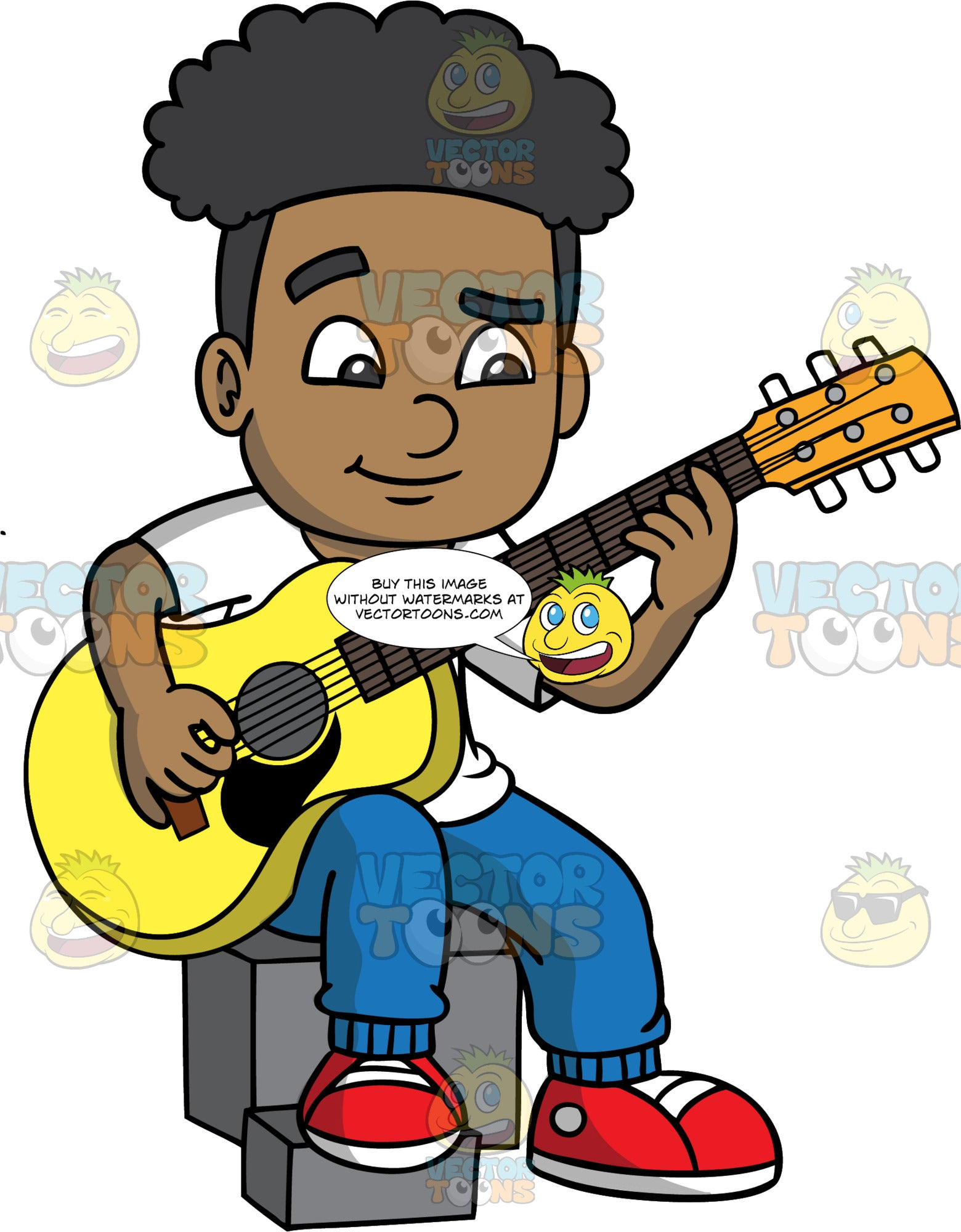 A Black Boy Learning How To Play Guitar. A black boy wearing blue pants, a white t-shirt, and red shoes, concentrates as he tries to learn how to play his yellow acoustic guitar