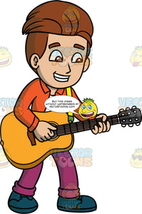 A Boy Having Fun Playing Guitar. A boy with brown hair and eyes, wearing purple pants, an orange shirt over a white t-shirt, and blue shoes, smiles as he plays his acoustic guitar