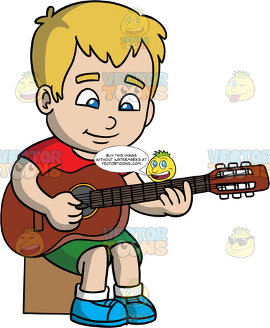 A Boy Sitting Down And Playing Guitar. A boy with dirty blonde hair and blue eyes, wearing green shorts, a red t-shirt, and blue shoes, sitting down on a block and practicing playing his acoustic guitar