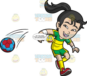 A girl spiking a handball. A girl with black hair tied in a ponytail, wearing green and yellow shorts, a green and yellow shirt, yellow socks and red shoes, smiles as she spikes a red and blue handball