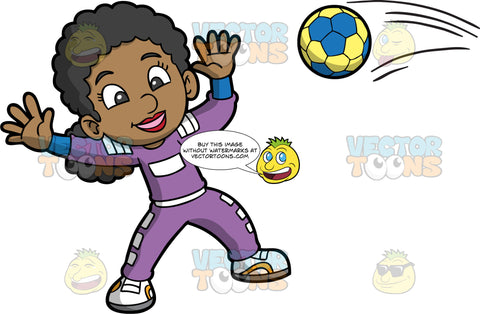 A black girl getting ready to catch a handball. A black girl wearing purple pants and a purple shirt, holds her hands up in the air in preparation for catching a handball