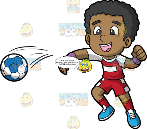A black boy spiking a handball. A black boy wearing red with white shorts, a red and white T-shirt, red socks and blue shoes, smiles after just spiking a blue and white handball