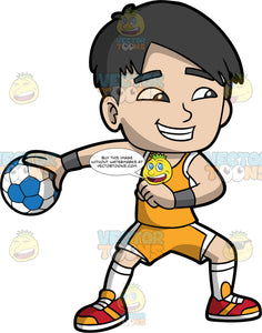 An Asian boy playing handball. An Asian boy wearing Orange with white shorts, an orange tank top, and red and orange shoes, smiles as he holds a blue and white handball in his hand and gets ready to throw it