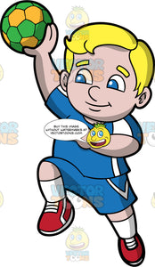 A chubby boy getting ready to throw a handball. A chubby boy with blond hair and blue eyes, wearing blue shorts, a blue and white shirt, white socks and red shoes, holds a green and yellow handball in his hand and prepares to throw it