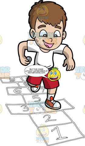 An Excited Boy Playing Hopscotch. A boy with brown hair, wearing a white shirt, red shorts, white socks, red and white shoes, smiles while holding a gray stone in his right hand, while hopping to a spot beside the number three white rectangular outline on the ground to play hopscotch