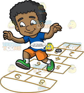 A Black Boy Playing Hopscotch. A black boy with curly hair, wearing a blue shirt, orange shorts, white socks, green shoes, smiles while hopping from number five to nine on the brown rectangular outline on the ground