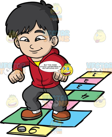 A Jolly Boy Playing Hopscotch. A boy with black hair, wearing a red sweater with hood, yellow shirt, dark gray pants, white socks, brown shoes, smiles while playing hopscotch on colored rectangles outlined on the ground