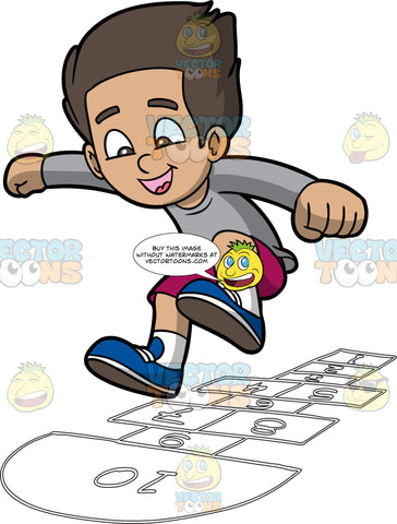 A Happy Boy Enjoying A Game Of Hopscotch. A boy with dark brown hair, wearing a gray sweatshirt, fuchsia shorts, white socks, blue shoes, smiles while jumping into number a number 10 semi circle block with several other white rectangular outlines on the ground to play hopscotch