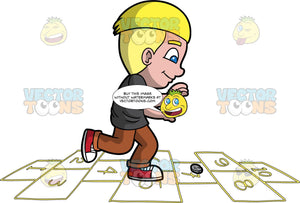 A Happy Boy Playing Hopscotch. A boy with blonde hair, wearing a black shirt, brown pants, red with white shoes, smiles while hopping towards the yellow numbers inside the rectangles outlined on the ground to play hopscotch