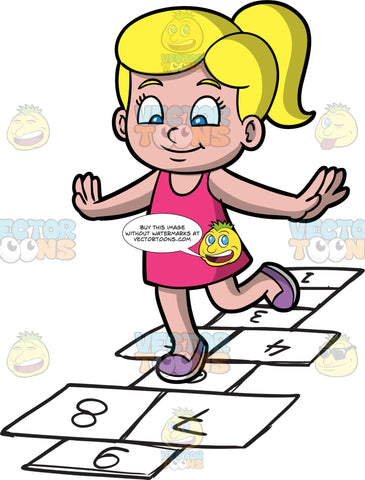 A Cute Girl Playing Hopscotch. A girl with blonde hair tied in a ponytail, wearing a pink sleeveless casual dress, purple shoes, smiles while hopping into number labeled rectangles outlined on the ground to play hopscotch