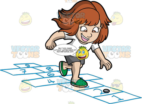 An Excited Girl Playing Hopscotch. A girl with brown hair, wearing a white shirt, dark gray shorts, green slippers, smiles while hopping into blue number labeled rectangles outlined on the as she sort of bows down to get a gray coin on the number two rectangle