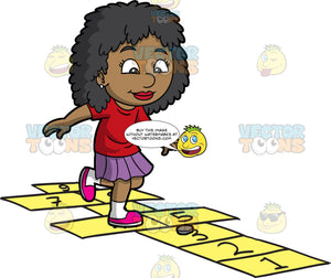 A Pretty Black Girl Playing Hopscotch. A black girl with curly hair, wearing a red shirt, purple skirt, white socks, bright pink shoes, smiles while hopping into yellow and black rectangles outlined on the as a gray coin in placed on the number three slot