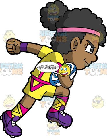 A black girl running with a rugby ball tucked under her arm. A black girl wearing yellow and pink shorts, a yellow and pink shirt, yellow and pink socks, and purple rugby cleats, has a determined look on her face as she runs across the field with a blue and white rugby ball tucked under her arm