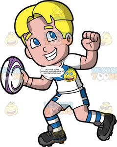 A blonde boy holding a white and purple rugby ball in his hand. A boy with blond hair and blue eyes, wearing white and blue shorts, a white and blue shirt, white and blue striped socks, and black rugby cleats, holds a purple and white rugby ball in one hand and smiles